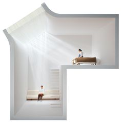 光を2つに分けるガラス 旭硝子からの依頼による新しいガラスの使い方を検討したプロジェクト。 ガラスの特性を使って建築空間に多様な光をもたらすアイデアが望まれていました。板ガラスの小口方向から光を入射させると、ガラス内部で全反射を繰り返し、光が2方向に分かれるという現象が起きます。この現象を利用したガラストップライトを作ることで、朝のような浅い角度の陽射しと、頭上から降り注ぐ昼間のような陽射しの2つが同時に差し込む空間を作ることができると考えました。 ガラストップライトは、1方向の太陽光をそのまま取り込むか、フロストガラスで部屋全体に拡散させるかの2種類しかありませんでしたが、それらとは違う新たな光環境をつくることができます。