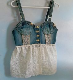 Denim bustier upcycled clothing jean bustier by Lifeloveandmusic