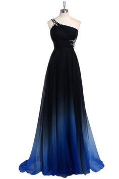 One Shoulder Long A-line Ombre Chiffon Beading Charming Prom Dresses Z0516