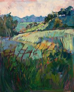 Green California hills oil painting landscape by Erin Hanson