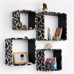 Trista - [Black Giraffe] Square Leather Wall Shelf / Bookshelf / Floating Shelf (Set of 4)   karma boutique