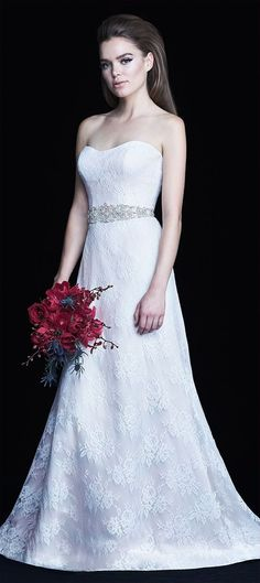 A-line Wedding Dresses : Chantilly Lace Wedding Dress. Chantilly Lace gown with modified sweetheart neckl