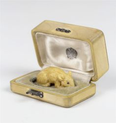 """Fabergé 1895 circa,Russian Miniature Mouse. Signed by Master Craftsman """"Julius Rappoport"""". Silver and Rose-cut Diamond tail, beautiful quality ruby eyes set with 18k gold. Original Fitted Wooden Box."""