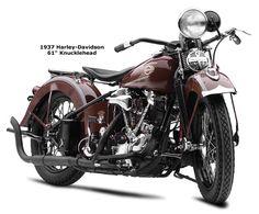 Knucklehead Harley › Vintage Red Knucklehead Harley Motorcycle