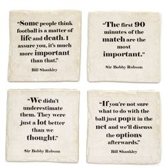 Classic quotes from the world of football. Four different quotes from two legends of the game, Sir Bobby Robson and Bill Shankly Famous Football Quotes, Famous Quotes, Slate Plates, Bobby Robson, Ynwa Liverpool, Bill Shankly, Liverpool Fc Wallpaper, Classic Quotes, Different Quotes