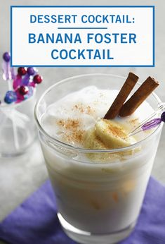 Celebrate Mardi Gras in classic New Orleans style with this Inspired Gathering recipe for Bananas Foster Cocktail. Cinnamon, rumchata, and butterscotch schnapps make this sweet and creamy drink taste just like the original dessert dish. Cocktail Recipes Peach Schnapps, Peach Sangria Moscato, Peach Snapps Drinks, Schnapps Recipe, Peach Drinks, Cocktail Desserts, Refreshing Cocktails, White Sangria, Dessert Dishes