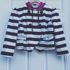 Sugar Fly Lined Striped Jacket Fun colors thicker/warm cotton with faux double breasted and zip-lined with raincoat like material as well as on Hoodie.    📷 Ask to model. 🌻 SugarFly Jackets & Coats
