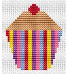 Sew Simple Cupcake Cross Stitch Kit £8.95 | Past Impressions | Fat Cat Cross Stitch