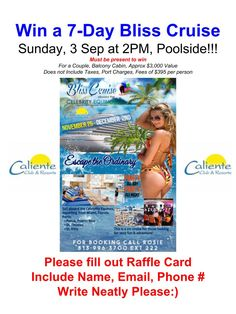 Hot off the Presses! Join us Sunday at #calienteresort.  We will give-a-way a 7-day Bliss Clothing Optional Cruise to a couple! 2pm Poolside