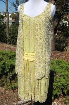 1920s Green Silk Satin Chiffon Dress w vest
