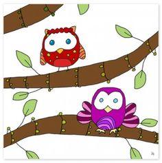 Colorful Owls II Canvas Art