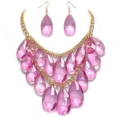 Fancy Chunky Gold Tone Multi Layered Pink Ice Lucite Faceted Teardrop Bead Cascade Statement Bib Necklace and Earrings Set Elegant Trendy Beaded Fashion Jewelry by Enchanting Jewels Necklace, http://www.amazon.com/dp/B007JYOIV2/ref=cm_sw_r_pi_dp_SwIDpb01CB4EP