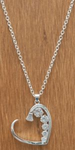 Montana Silversmith Silver Horseshoe Nail Heart with Crystals Necklace