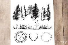 Geometric Animals & Rustic Landscape - Illustrations