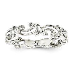 14k White Gold Vined Diamond Eternity Ring