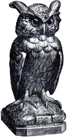 Spooky Owl Statue Image! - The Graphics Fairy
