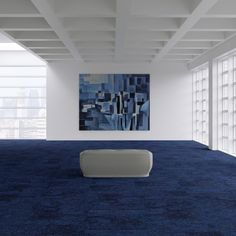 Cubism - a luxury geometric design carpet tile by Duraflor Blue Carpet, Carpet Colors, Carpet Tiles, Carpet Flooring, Carpet Design, Floor Design, Picasso Blue, Smart Office, Luxury Office