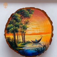 15 Awesome Painting Ideas For Beginners Painting Videos Tutorial Circle Painting, Wood Painting Art, Stone Painting, Wood Art, Painting & Drawing, Pottery Painting, Rock Painting Designs, Art Drawings Sketches Simple, Beginner Painting