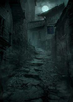 Dark Alley, Markus Luotero on ArtStation at https://www.artstation.com/artwork/kOQWx