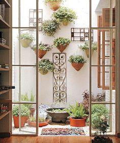 48 Ideas wall garden brick plants for 2019 Dream Garden, Garden Art, Garden Design, Herb Garden, Outdoor Rooms, Outdoor Gardens, Indoor Outdoor, Interior Garden, Balcony Garden