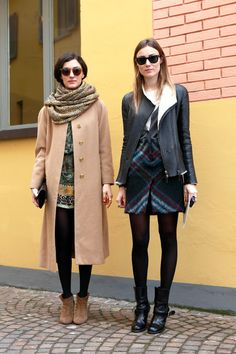 long coat, short coat, scarf, boots, sunglasses