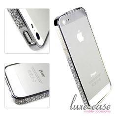 Silver Rhinestone Encrusted iPhone 5S Bumper Case – luxe-case