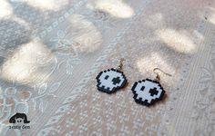 Halloween cute skull earrings perler hama beads by ZestyDen, $5.00