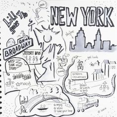New York Skechtnote, Illustration, Copic Marker, Handdrawn, Central Park. Chinatown