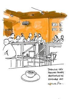 Darwins Cafe near Harvard Square Cambridge, Massachusetts,  (cafe sketch by Michael Cucurullo)