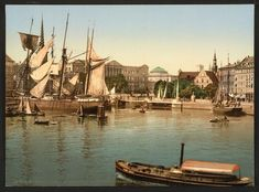 Port with ruins of the Christianborg Palace, Copenhagen, - Category:Christiansborg Palace - Wikimedia Commons Places In Europe, Places To Visit, Old Port, Copenhagen Denmark, Library Of Congress, Photo Wall Art, Palace, Castle, Boat
