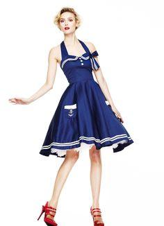 Hell Bunny Motley 50's Nautircal Swing Dress in Navy