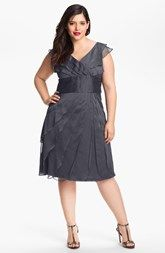 Adrianna Papell Chiffon Petal Gown (Plus Size)