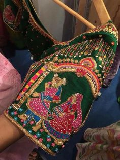 call us at 95661 28987 Silk Saree Blouse Designs, Bridal Blouse Designs, Blouse Patterns, Maggam Work Designs, Indian Bridal Fashion, Work Blouse, Indian Designer Wear, Embroidery Designs, Hand Embroidery