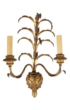 Golden Pineapple Wall Sconce on Chairish.com
