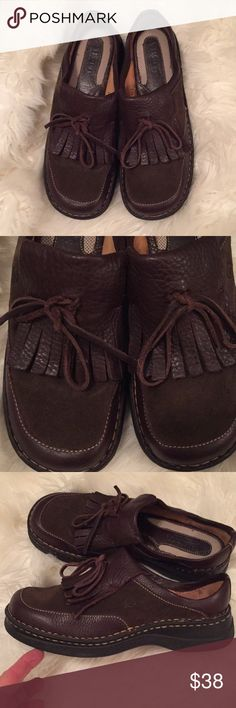 Sz 9 Born brown leather shoes- so comfy! 💗 These are in excellent shape and so classy and comfy! Make these yours- you will love them! 💗 Born Shoes Espadrilles
