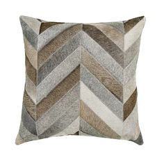 Saddlemans Chevron Gris Feathers Chevron Throw Pillow Colour: Bright Grey, Size: x Beige And Grey Living Room, Cream Living Rooms, Brown Couch Living Room, Living Room Decor Pillows, Grey And Beige, Chevron Throw Pillows, Brown Pillows, Accent Pillows, Leather Pillow