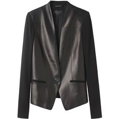 Rag & Bone Pascal Jacket (6 900 UAH) ❤ liked on Polyvore featuring outerwear, jackets, blazers, tops, collarless jacket, collarless blazer, real leather jacket, leather blazer and one button blazer