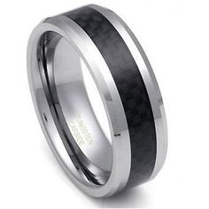 $17.99 - 8MM Men's Polished Black Carbon Fiber Center Tungsten Ring