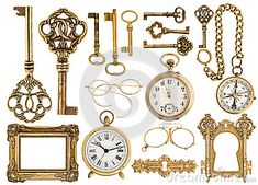 Golden antique accessories. baroque frame, vintage keys, clock, compass, retro glasses, pocket watch isolated on white background