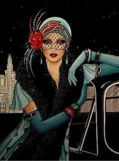 Flapper Girl Fashion Poster, Gift For Women, Teal Green Flapper Dress & Headdress, Stars Illustration Wall Art Art Deco Illustration, Illustrations, Illustration Fashion, Digital Illustration, Art Deco Posters, Vintage Posters, Vintage Art, Arte Fashion, Art Deco Fashion
