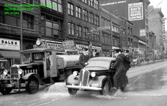 Police on automobile running board VPL Accession Number: 1294 Date: June, 1938 Photographer / Studio: Province Newspaper Content: Police activity during Post Office sit-down strike, 1938. http://www3.vpl.ca/spe/histphotos/
