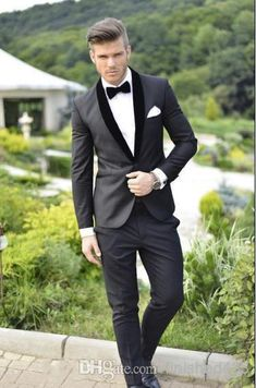 Custom Design Charcoal Grey Groom Tuxedos Black Lapel Best Man Groomsmen Men Wedding Suits Bridegroom Jacket+Pants+Girdle+Tie Ok:506 From Finished123, $78.54 | Dhgate.Com