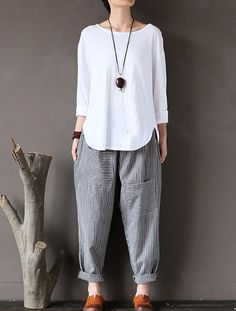 Nordstrom Pants – Women Stripe Elastic Waist Casual Loose Harem Pants Find More Ideas at my Fashion Pants, Look Fashion, Hijab Fashion, Fashion Outfits, Womens Fashion, Hijab Mode, Mode Abaya, Rock Dress, Terno Casual