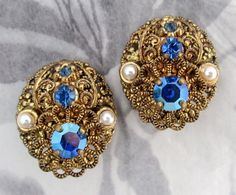 vintage filigree rhinestone earrings West Germany  by peteracey