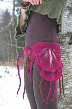 merino wool felted lace up belt with side pocket by Solmundoart, $80.00