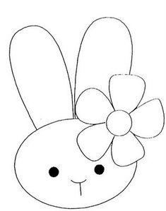 Print this as a paddlepop decoration inside a bucket of easter eggs! Applique Templates, Applique Patterns, Applique Designs, Craft Patterns, Embroidery Applique, Quilt Patterns, Owl Templates, Bunny Crafts, Felt Crafts