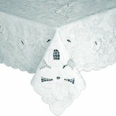 Toalha de mesa quadrada bordado richelieu jacquard 2,20x2,20m