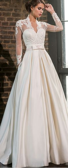 Attractive Satin V-Neck A-Line Wedding Dresses With Jacket