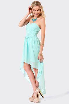 Elegant Light Blue Dress - High-Low Dress - Strapless Dress - $56.00