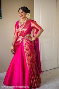 Indian Bridal Fashion, Indian Fashion Dresses, Indian Designer Outfits, Designer Dresses, Half Saree Designs, Silk Saree Blouse Designs, Saree Wearing Styles, Saree Styles, Lehenga Saree Design